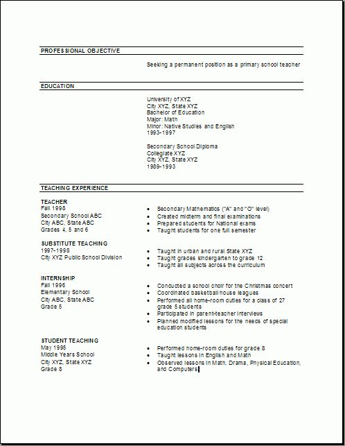 Preschool Teacher Resume Samples Free - http://www.resumecareer ...