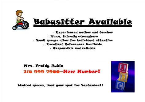 Mrs. Fara Rubin – Babysitter Available – New Number