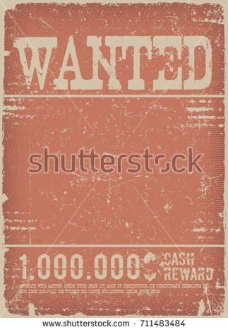 Wanted Poster On Red Grunge Background illustration Stock Vector ...