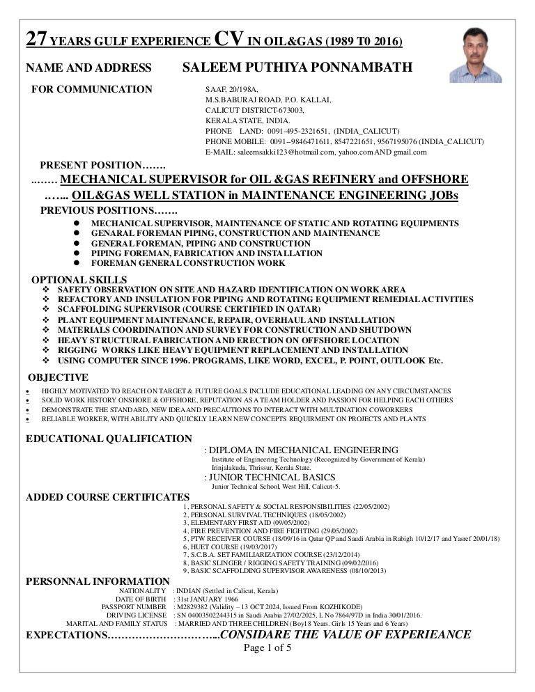 SUPERVISOR CV for ONSHORE and OFFSHORE MECHANICAL, MANTENANCE, CONST…