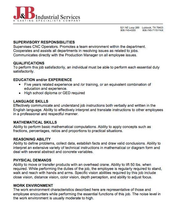 Sample Of Job Description Of CNC Programmer - http://resumesdesign ...