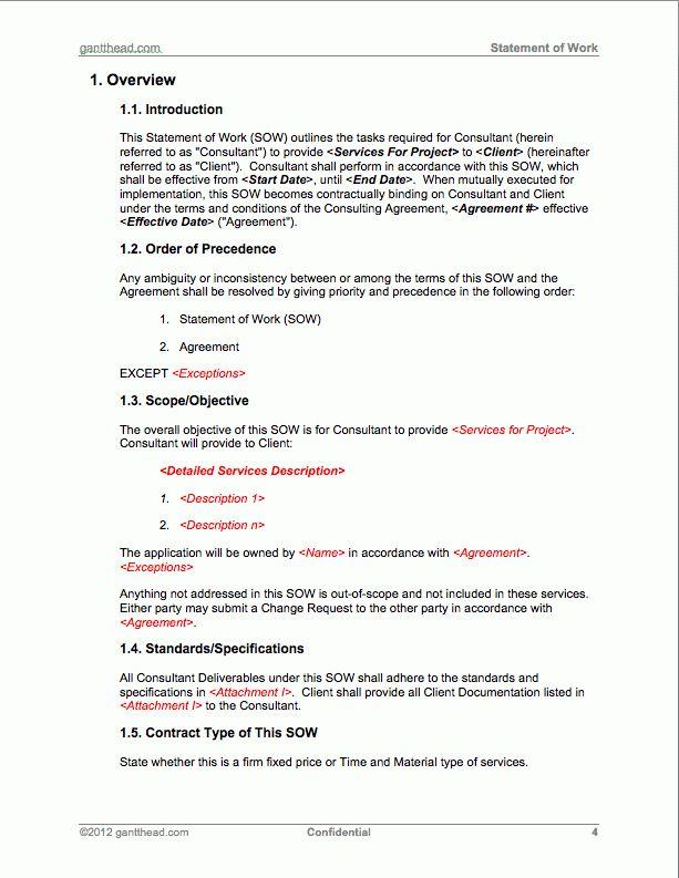ProjectManagement.com - Statement of Work Template | PMP | Pinterest
