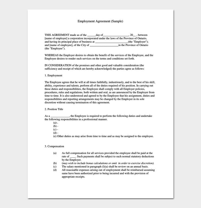 Job Contract Template - 4+ Sample Agreements For Word, PDF