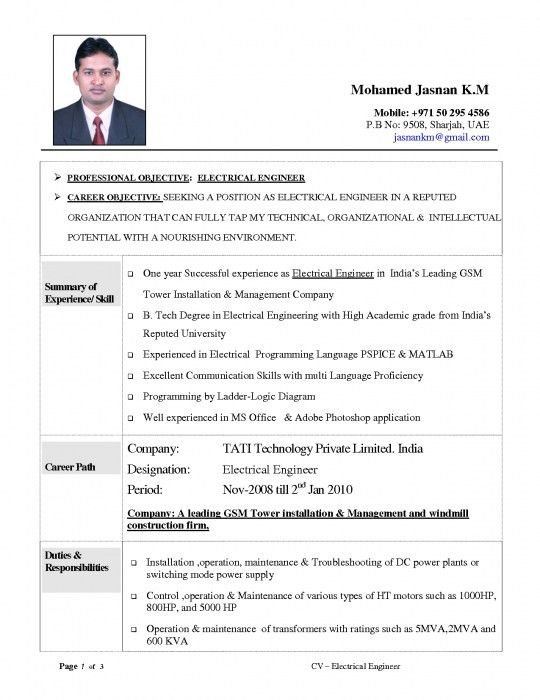 Stylish Resume Of Electrical Engineer   Resume Format Web