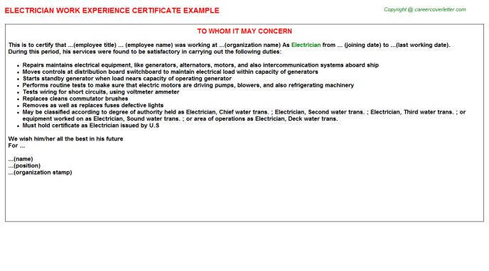 Electrician Work Experience Certificate