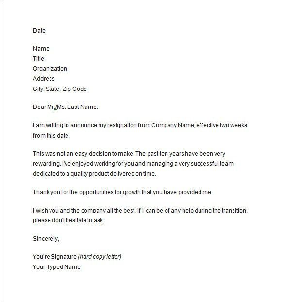 two weeks notice letter 9 free sample example format download - Example Of Letter Of Resignation Two Weeks Notice