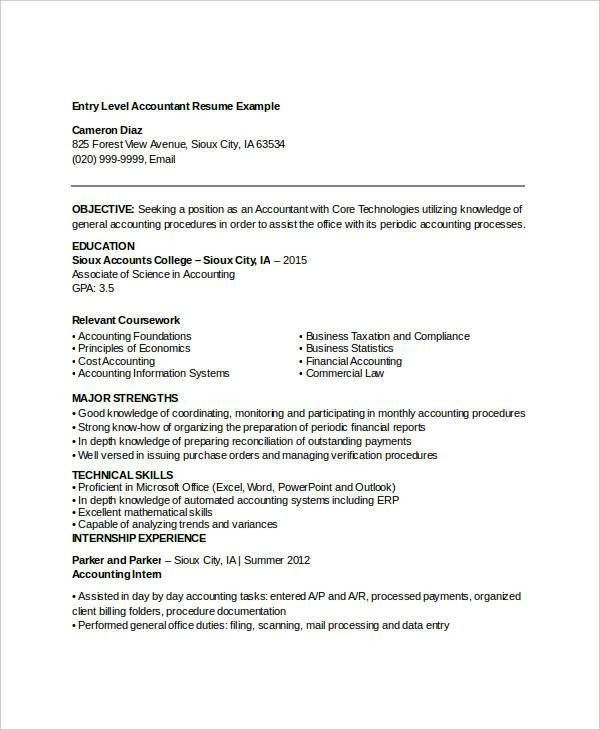 Printable Accountant Resume Templates- 28+ Free Word, PDF ...