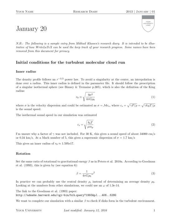 Research Diary - LaTeX Template - ShareLaTeX, Online LaTeX Editor