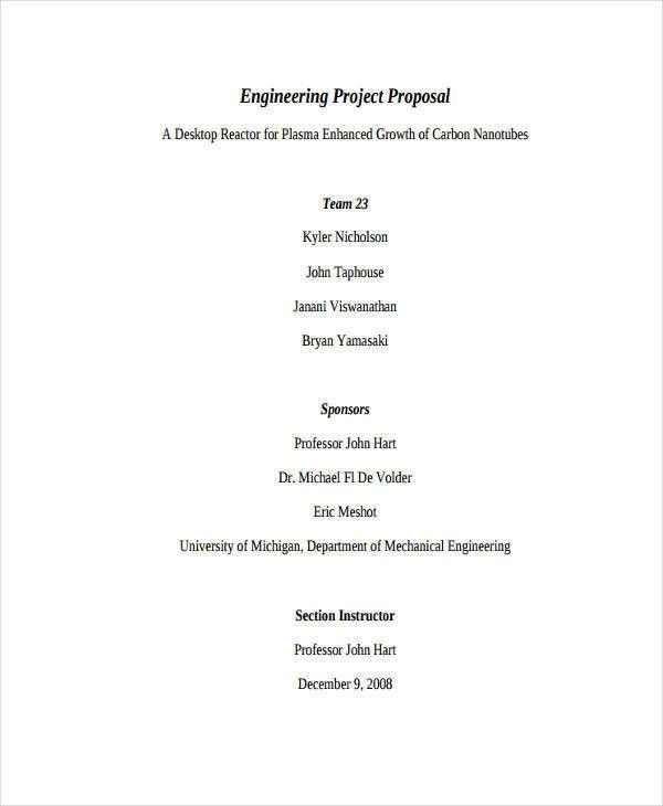 Engineering Proposal Sample. Engineering Project Proposal Example ...