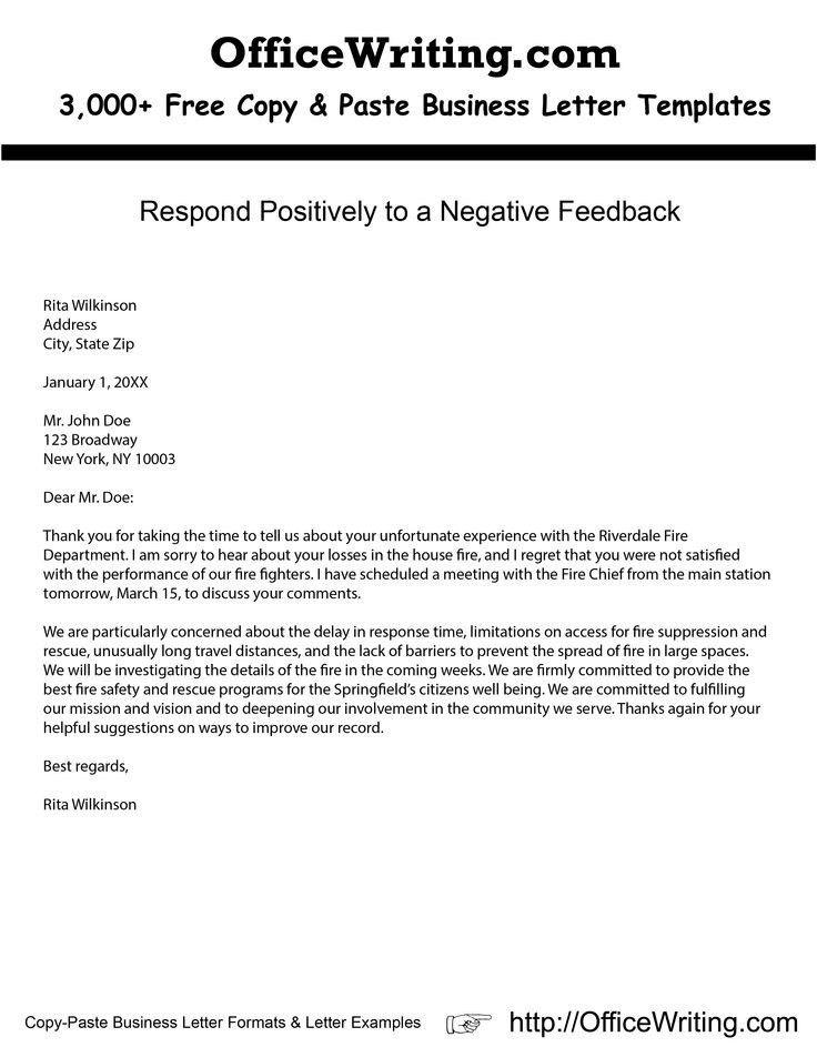 Negative Business Letter Example | The Best Letter Sample