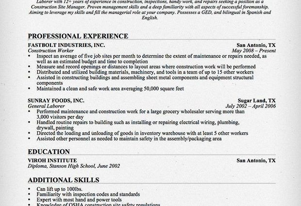 Construction Resume. Construction Resume Sample Construction ...