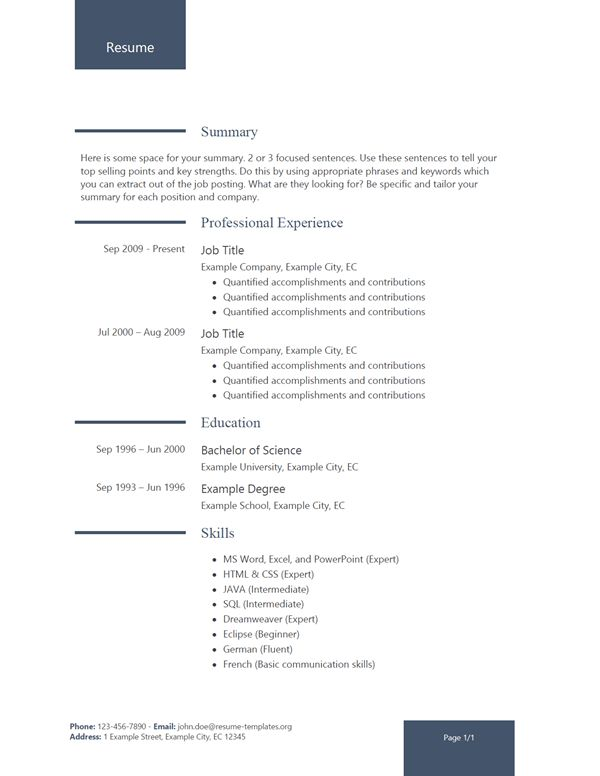 Resume 2017 - Resume-Templates.org