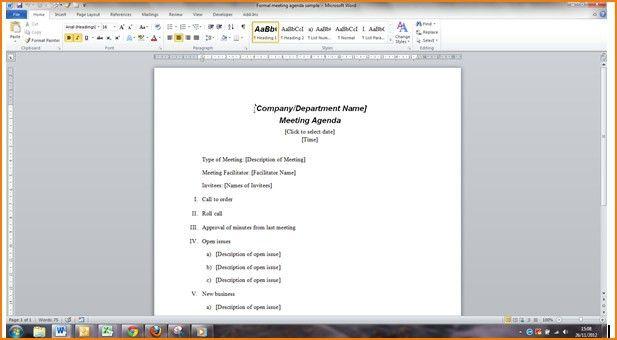 Agenda Template Word | peerpex