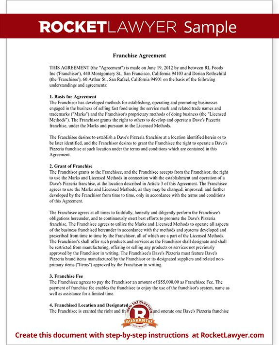 Franchise Agreement Template - Franchise Contract with Sample