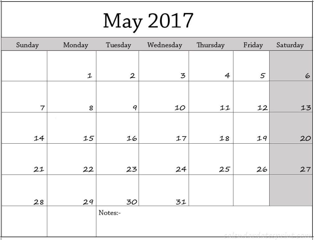 May 2017 Calendar Archives - CALENDAR PRINTABLE WITH HOLIDAYS ...