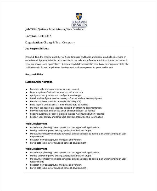 System Administrator Job Description - 10+ Free PDF, Word ...