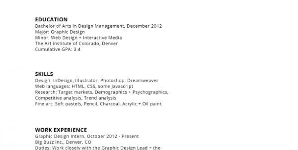 Graphic Designer Resume Example Graphic Design Intern Resume ...