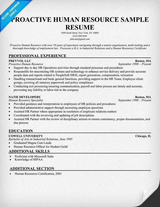 Proactive Human Resource Sample Resume (resumecompanion.com) #HR ...