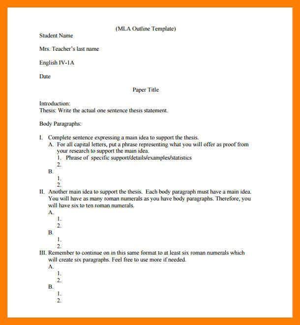 mla format outline