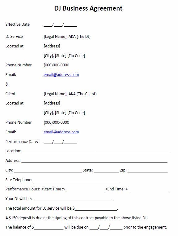 DJ Business Agreement   Printable Agreements - dj agreement   Real ...