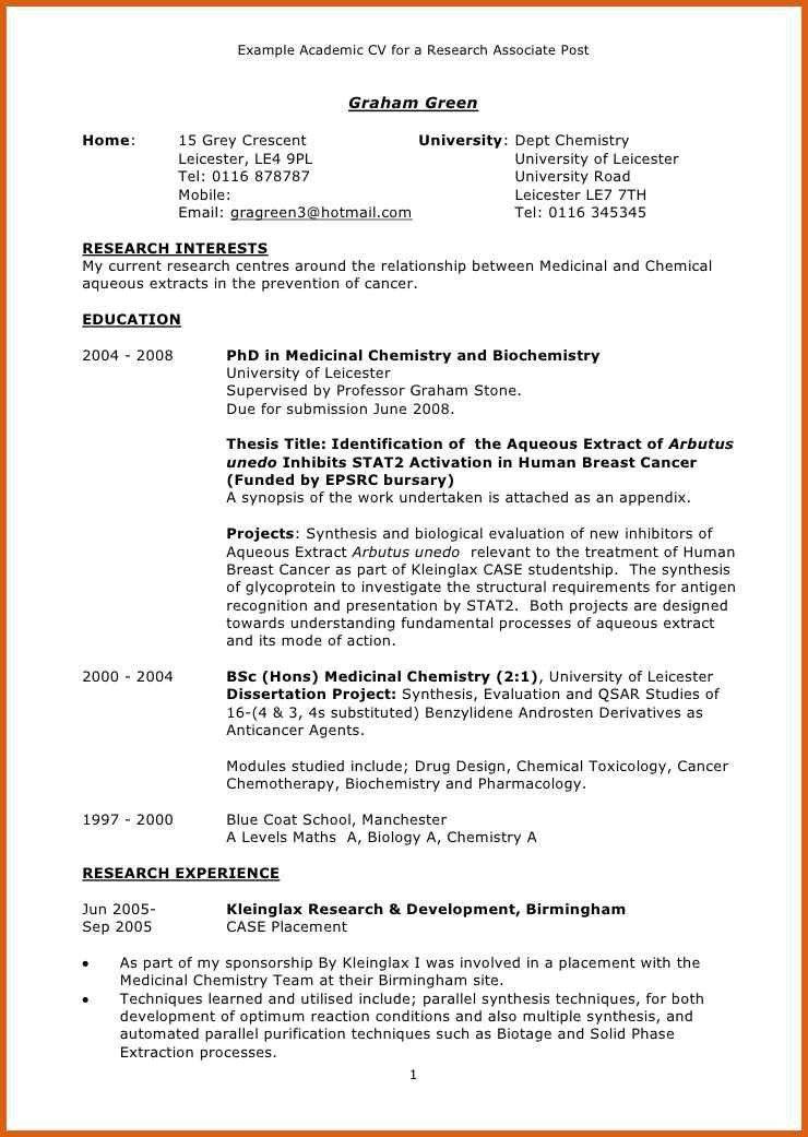 academic resume template | apa examples