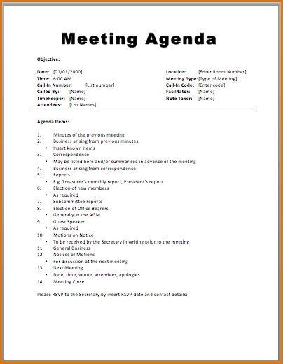 7+ agenda formats | Job Resumes Word