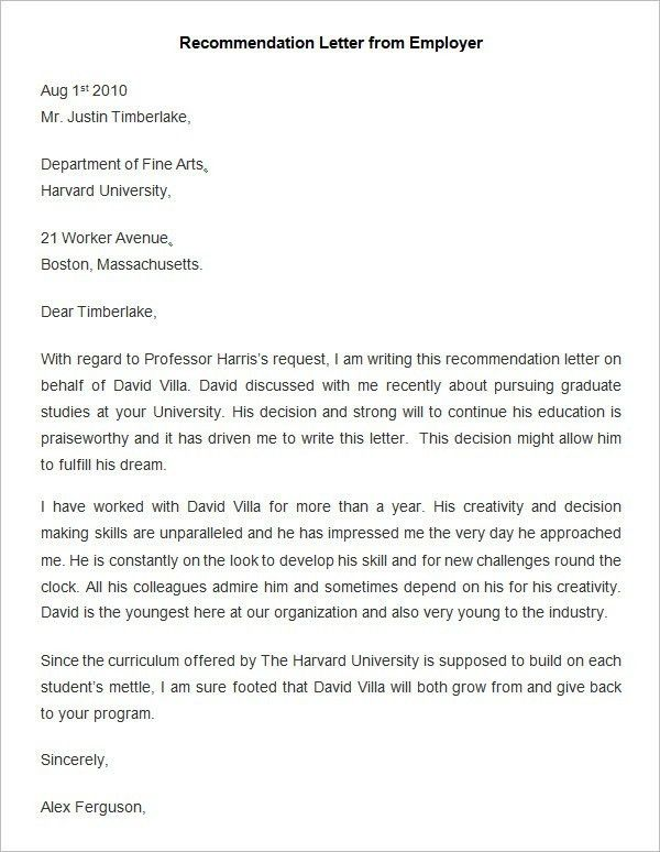 Recommendation Letter Employer | The Letter Sample