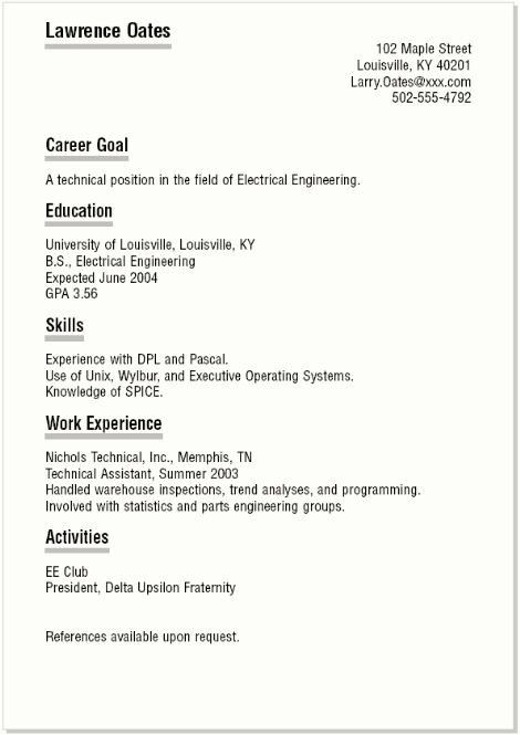 Basic Resume Templates For High School Students - Best Resume ...