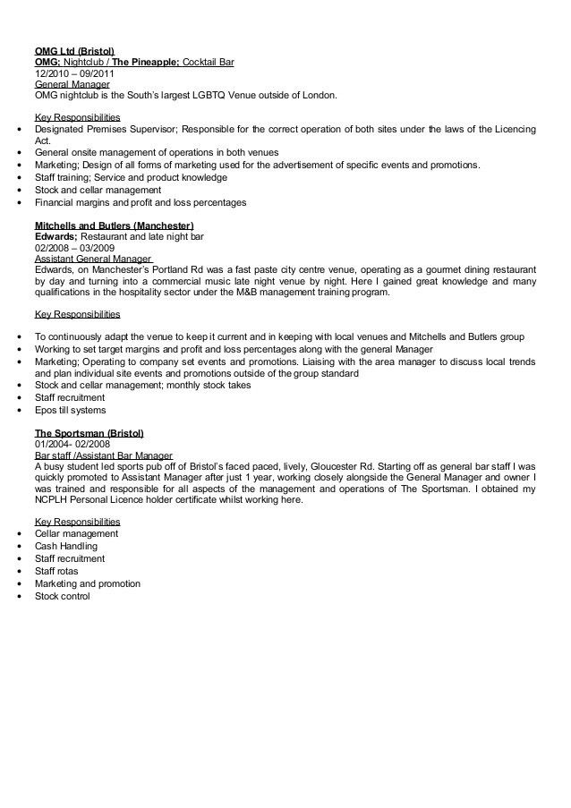Nightclub General Manager Resume] Top 8 Nightclub General Manager ...