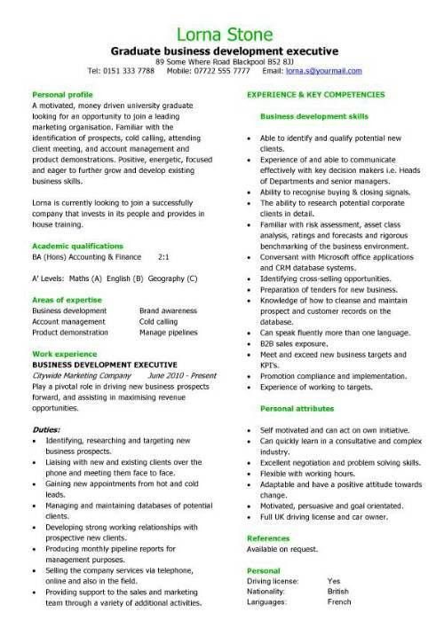 Graduate business development executive CV sample, student resume ...