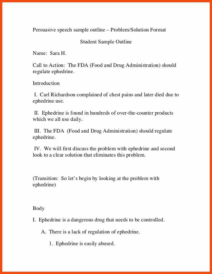 persuasive speech outline examples | program format