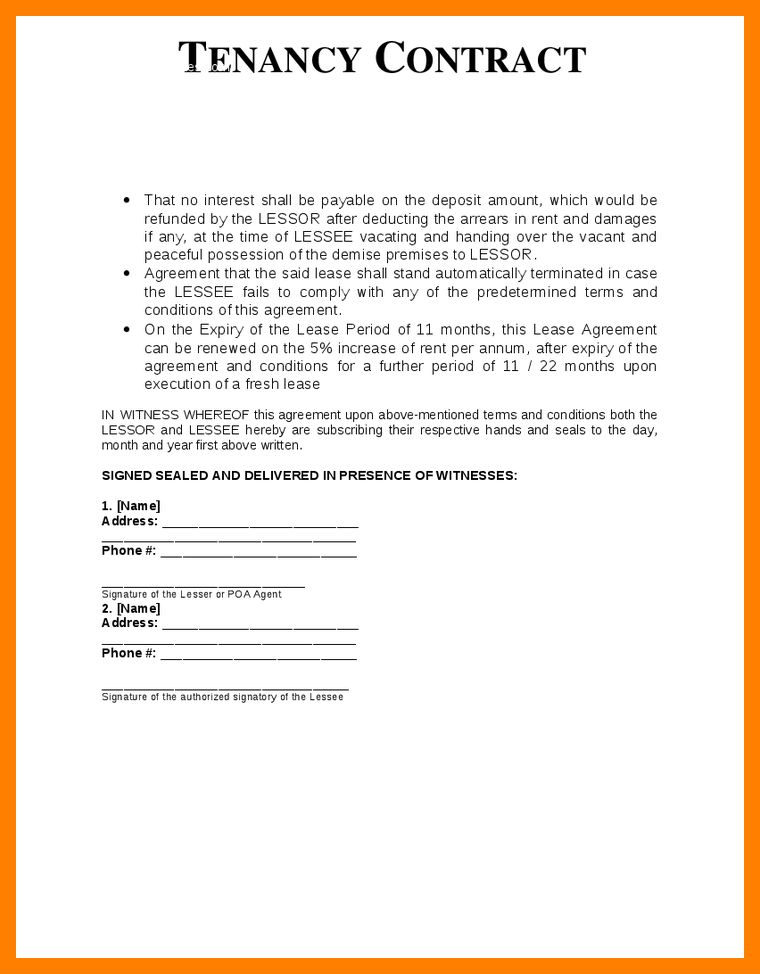10+ sample tenancy agreement | resumes great