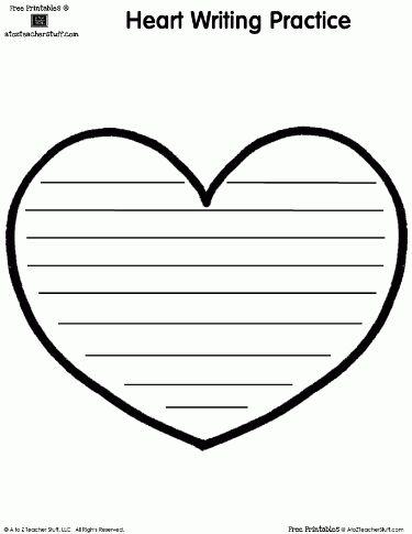 Heart-Shaped Printable Writing Page | A to Z Teacher Stuff ...
