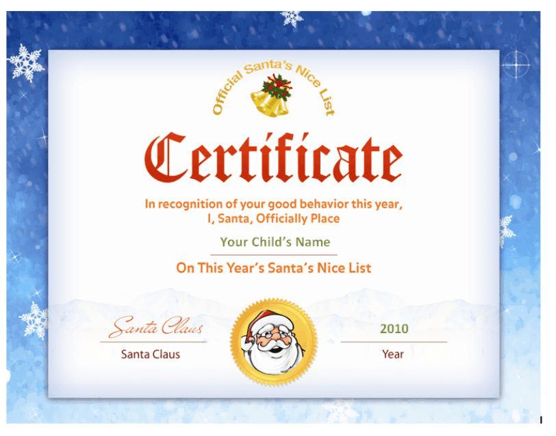 Santa's Nice List Certificate - Santa Seal | Other Files ...