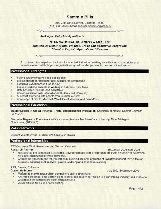Resume Examples For Graduate Students - Best Resume Collection