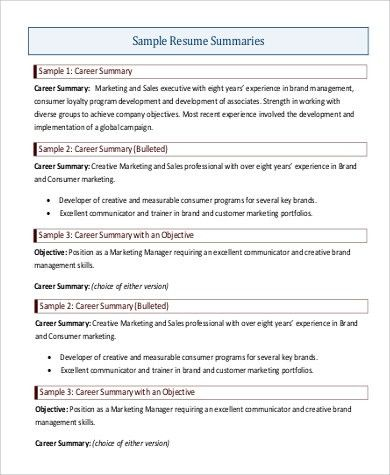sample resume career summary sample skill resume computer skills