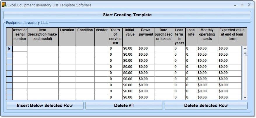 Excel Equipment Inventory List Template Software - Create ...