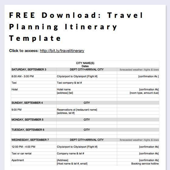 Business Itinerary Templates for Word | Planning Business Strategies