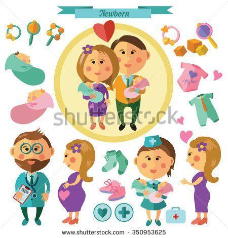 Newborns Flat Set Obstetrician Nurse Happy Stock Vector 350953625 ...