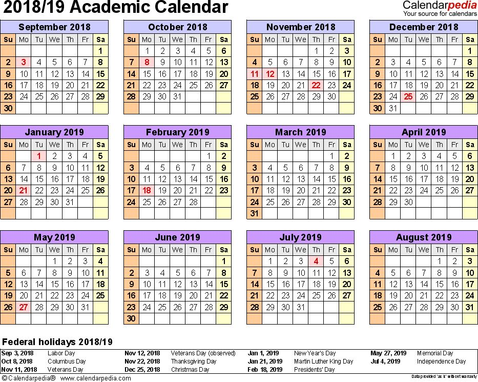 Academic calendars 2018/2019 as free printable Excel templates
