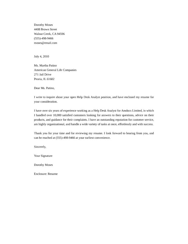 Basic Help Desk Analyst Cover Letter Samples and Templates