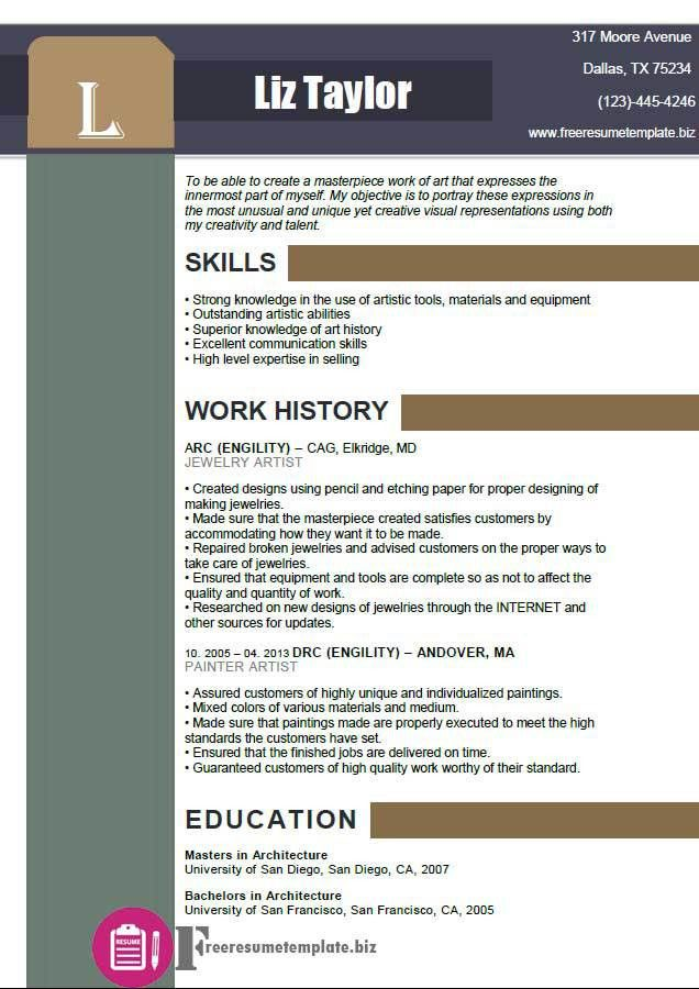 Artist Resume Templates. Artistic Resume Templates Fashionable ...