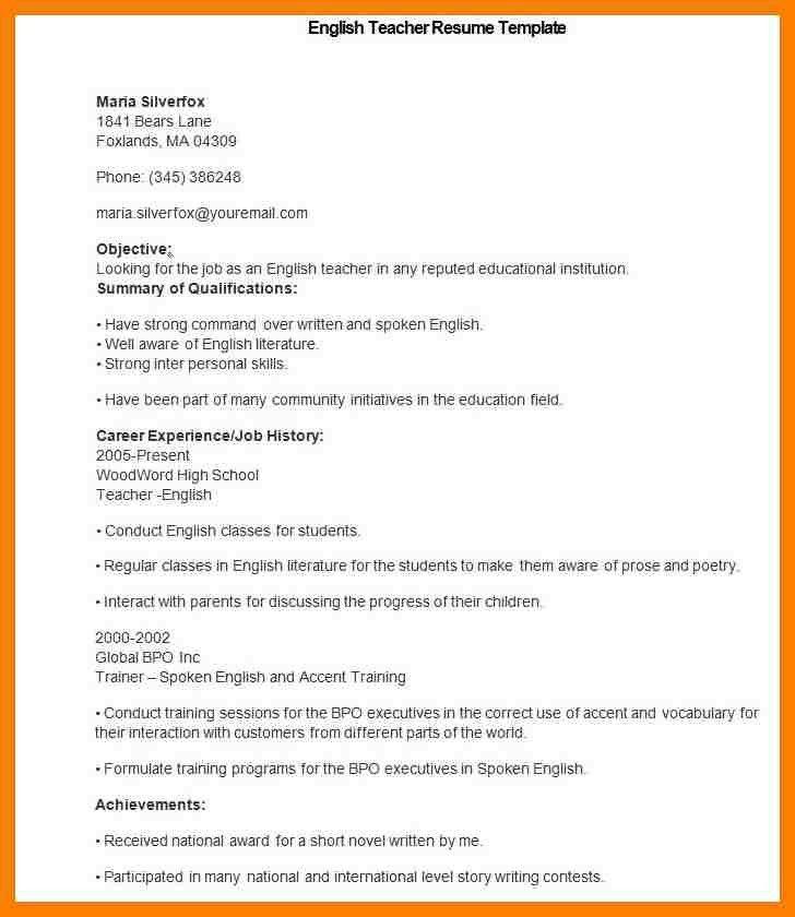 Resume Template Teacher. Teacher Resume Examples 2016 For ...