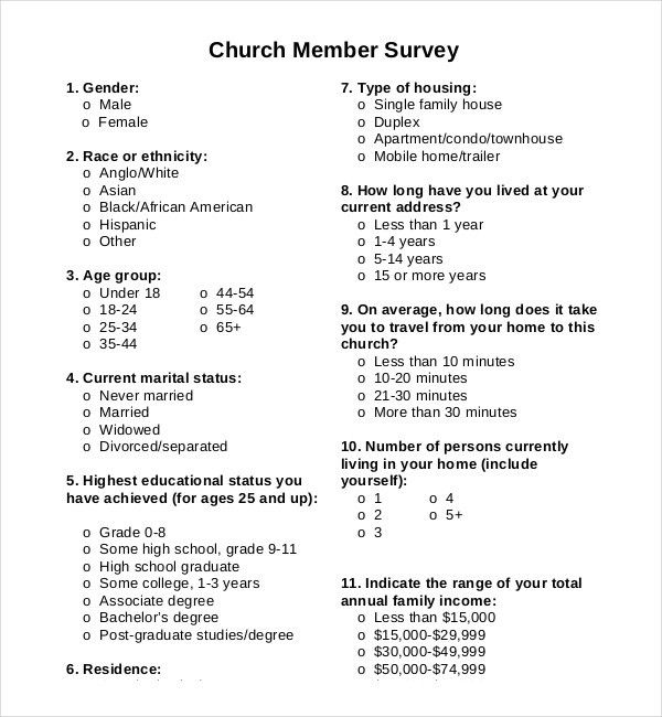 Church Survey Template – 11+ Free Word, PDF Documents Download ...
