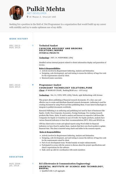 Technical Analyst CV Örneği - VisualCV Özgeçmiş Örnekleri Veritabanı