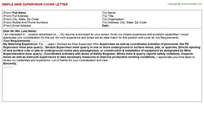 Mine Supervisor Cover Letter
