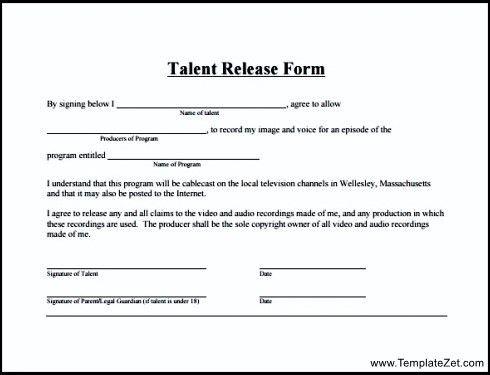 Simple Talent Release Form | TemplateZet