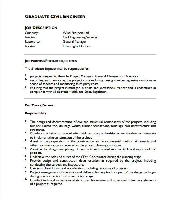 10+ Civil Engineer Job Description Templates – Free Sample ...