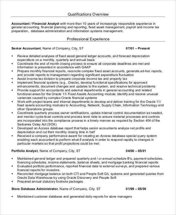 Printable Accountant Resume Templates- 28+ Free Word, PDF ...