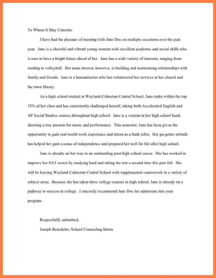 6+ sample college recommendation letter for high school student ...
